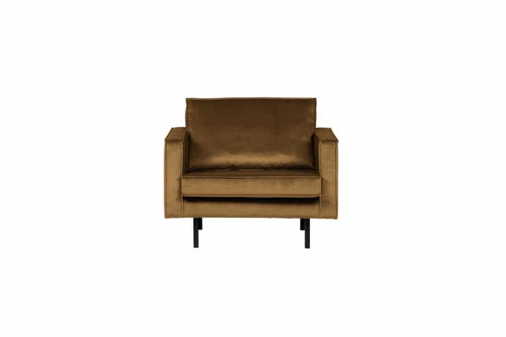 Rodeo fauteuil velvet honing geel